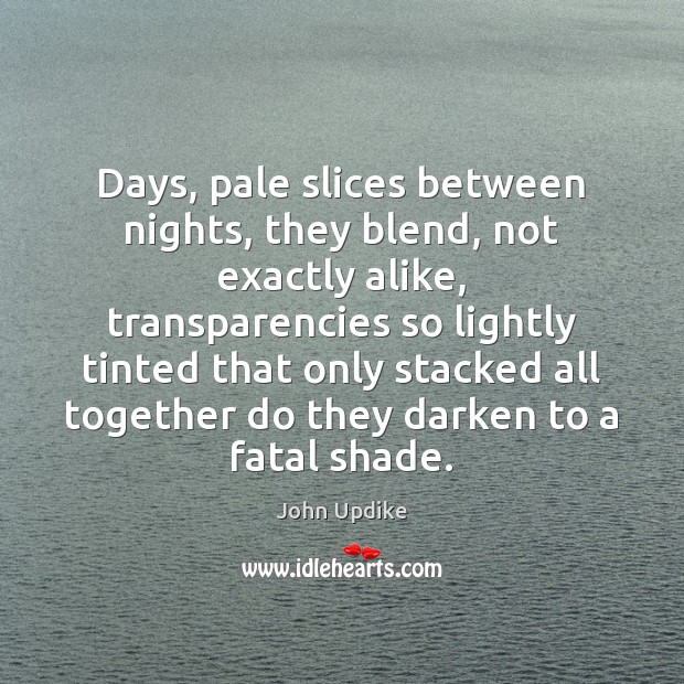 Days, pale slices between nights, they blend, not exactly alike, transparencies so John Updike Picture Quote