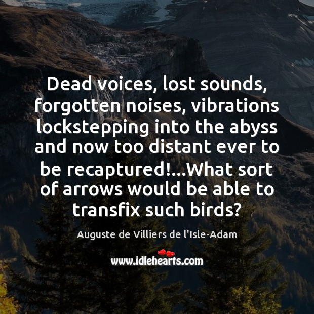 Image, Dead voices, lost sounds, forgotten noises, vibrations lockstepping into the abyss and