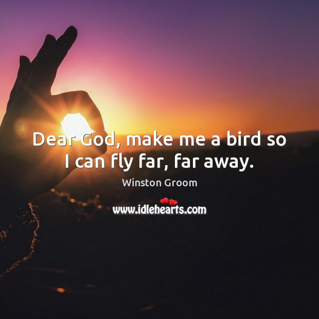 Dear God, make me a bird so I can fly far, far away. Image