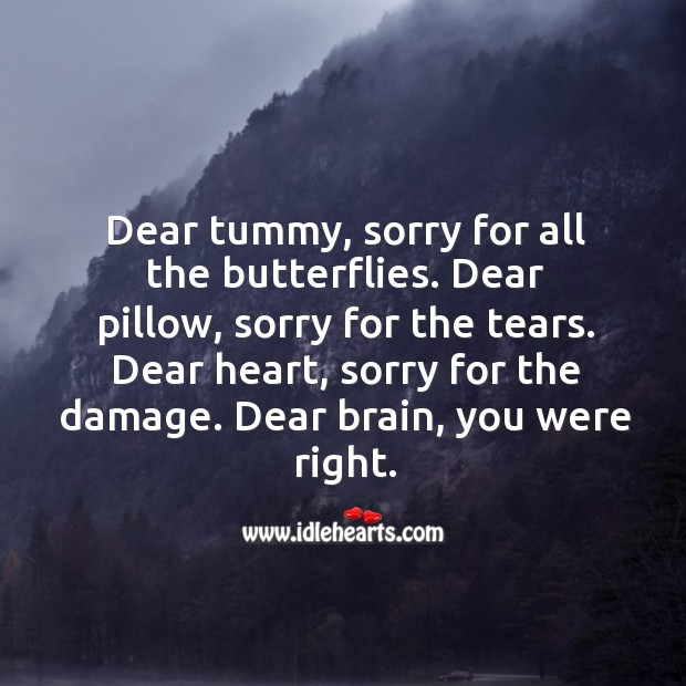 Dear heart, sorry for the damage. Dear brain, you were right. Image