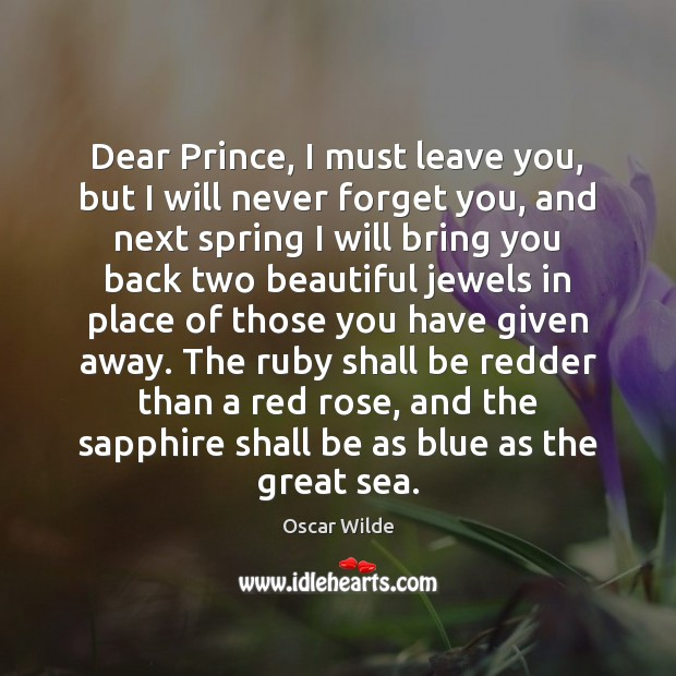 Dear Prince, I must leave you, but I will never forget you, Image
