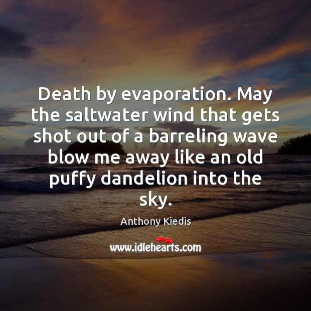 Death by evaporation. May the saltwater wind that gets shot out of Anthony Kiedis Picture Quote