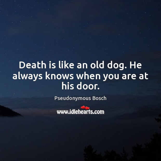 Death is like an old dog. He always knows when you are at his door. Image