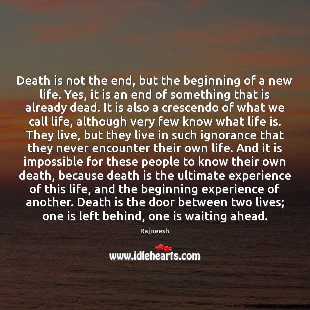 Image, Death is not the end, but the beginning of a new life.
