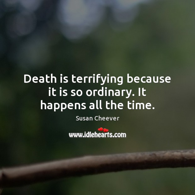 Death is terrifying because it is so ordinary. It happens all the time. Susan Cheever Picture Quote