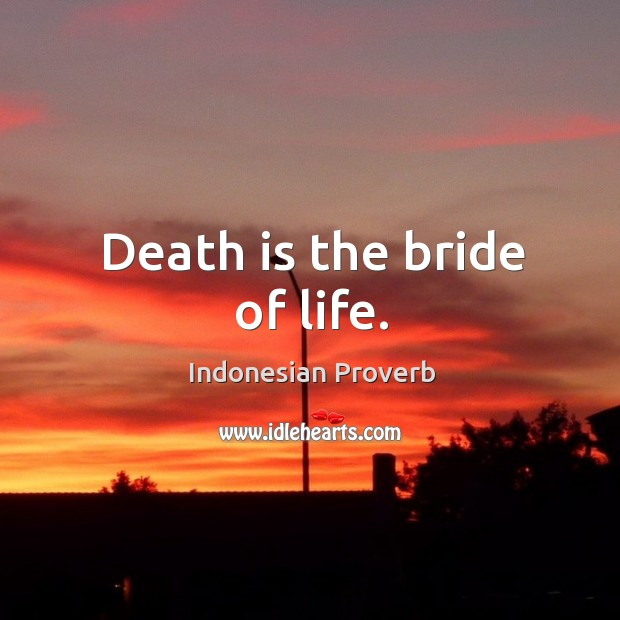 Death is the bride of life. Indonesian Proverbs Image