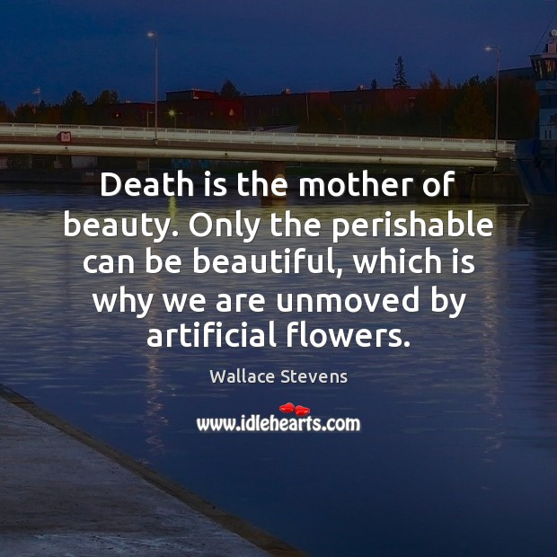 Image, Death is the mother of beauty. Only the perishable can be beautiful,