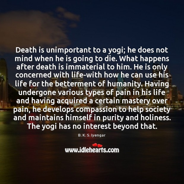 Death is unimportant to a yogi; he does not mind when he B. K. S. Iyengar Picture Quote