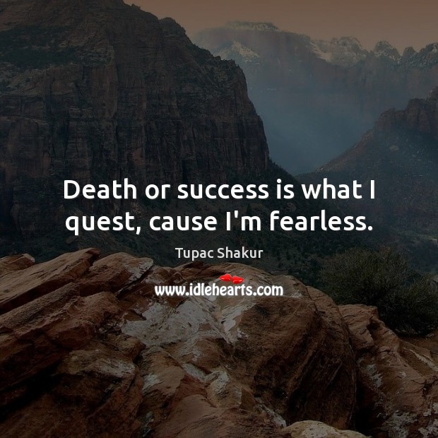 Image, Death or success is what I quest, cause I'm fearless.