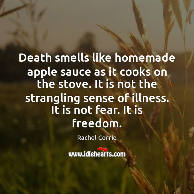 Death smells like homemade apple sauce as it cooks on the stove. Rachel Corrie Picture Quote