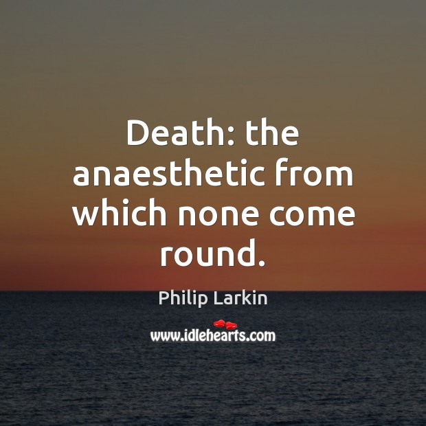 Death: the anaesthetic from which none come round. Philip Larkin Picture Quote