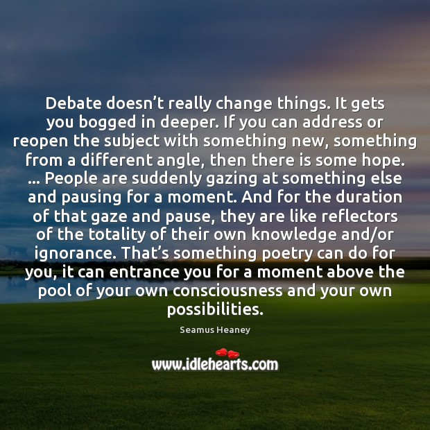 Debate doesn't really change things. It gets you bogged in deeper. Seamus Heaney Picture Quote