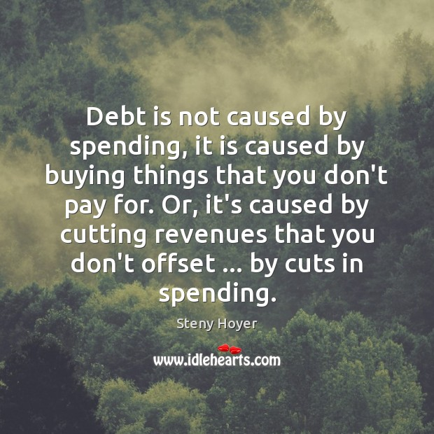 Debt is not caused by spending, it is caused by buying things Debt Quotes Image