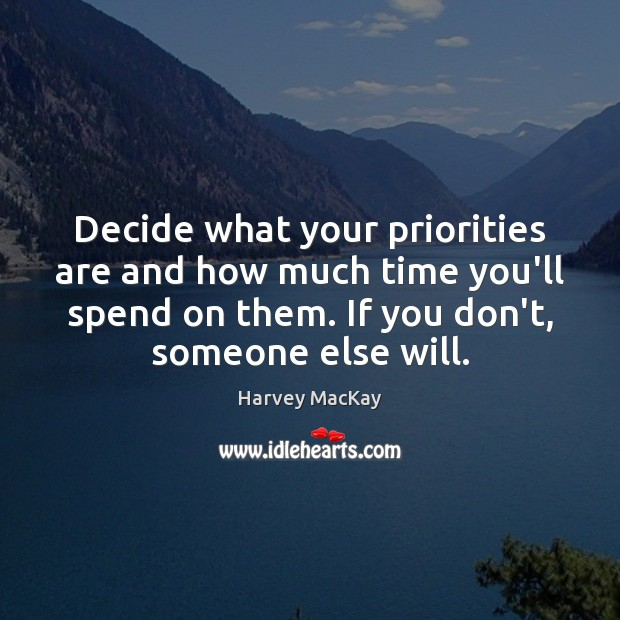 Decide what your priorities are and how much time you'll spend on Harvey MacKay Picture Quote