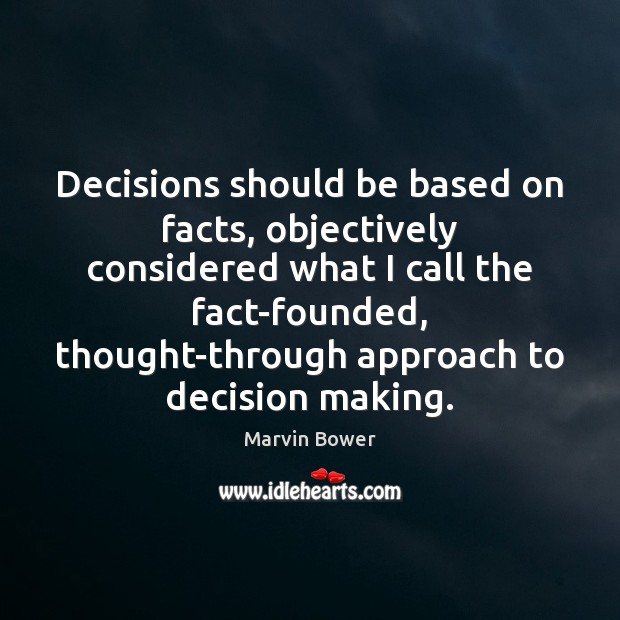 Decisions should be based on facts, objectively considered what I call the Image