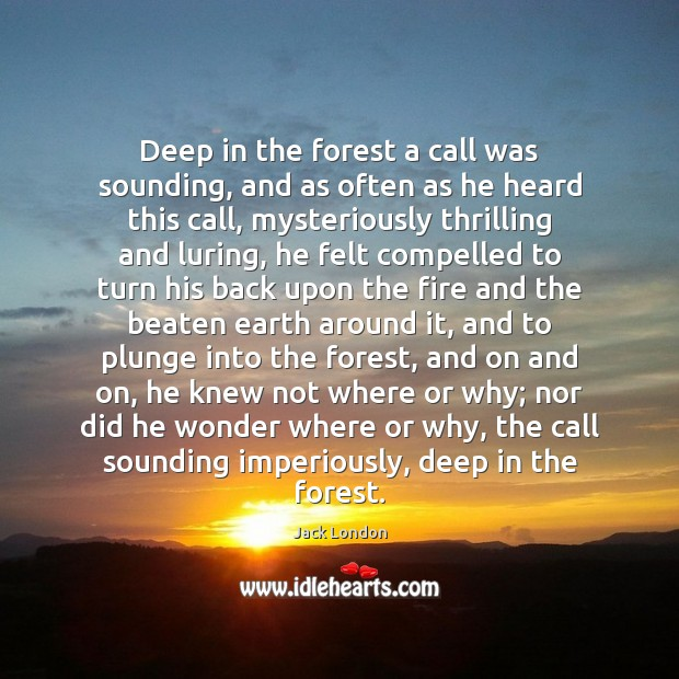 Deep in the forest a call was sounding, and as often as Jack London Picture Quote