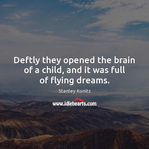 Image, Deftly they opened the brain of a child, and it was full of flying dreams.