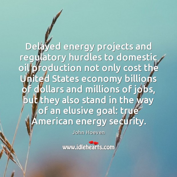 Delayed energy projects and regulatory hurdles to domestic oil production not only Economy Quotes Image