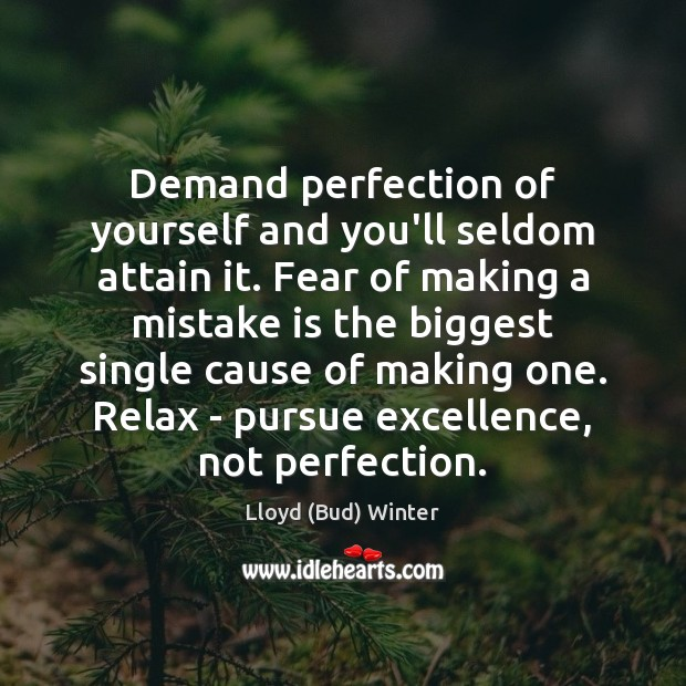 Demand perfection of yourself and you'll seldom attain it. Fear of making Mistake Quotes Image