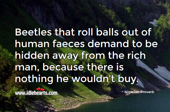 Beetles that roll balls out of human faeces demand to be hidden away from the rich man, because there is nothing he wouldn't buy. Nigerian Proverbs Image
