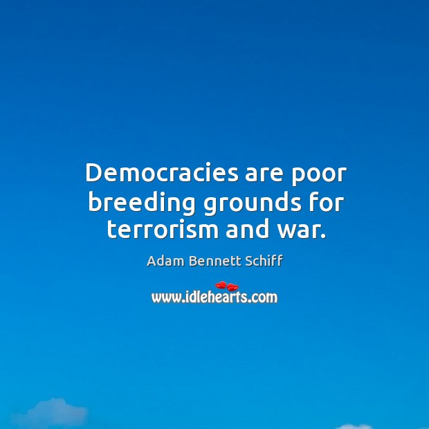 Democracies are poor breeding grounds for terrorism and war. Image