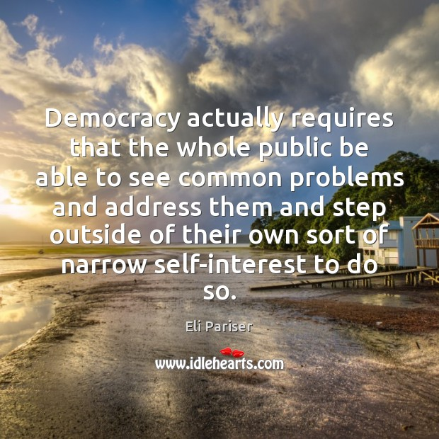 Democracy actually requires that the whole public be able to see common Image