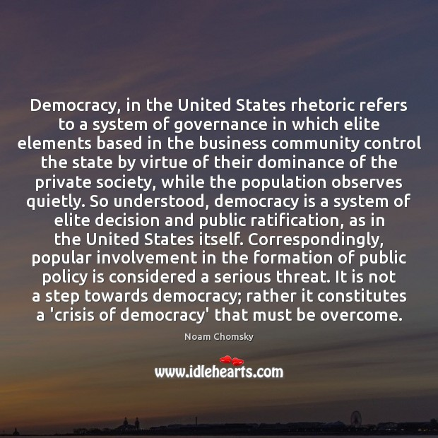 Image, Democracy, in the United States rhetoric refers to a system of governance