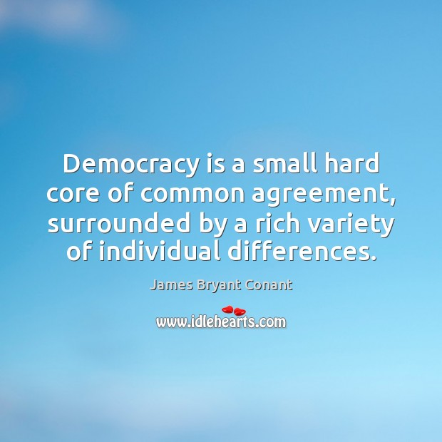 Image, Democracy is a small hard core of common agreement, surrounded by a
