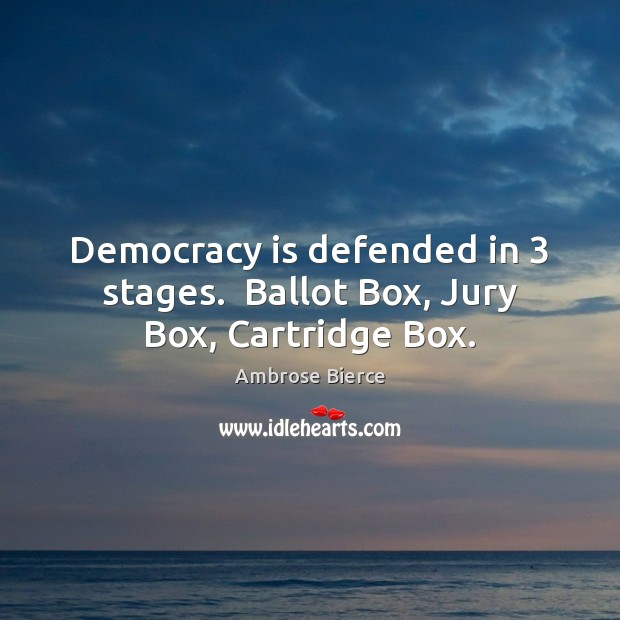 Image, Democracy is defended in 3 stages.  Ballot Box, Jury Box, Cartridge Box.