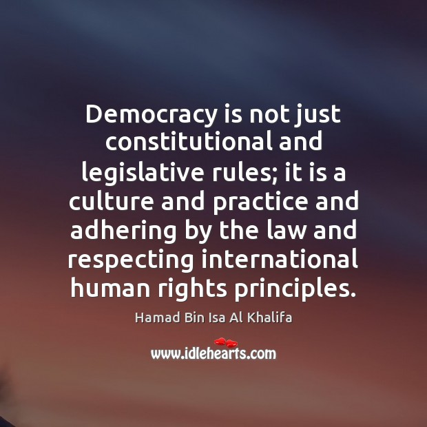 Democracy is not just constitutional and legislative rules; it is a culture Image