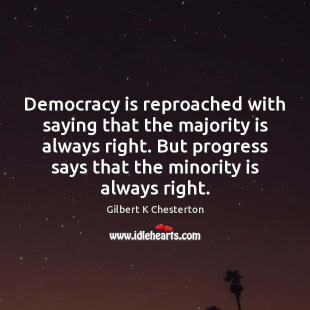 Democracy is reproached with saying that the majority is always right. But Democracy Quotes Image