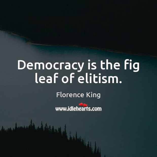 Democracy is the fig leaf of elitism. Florence King Picture Quote