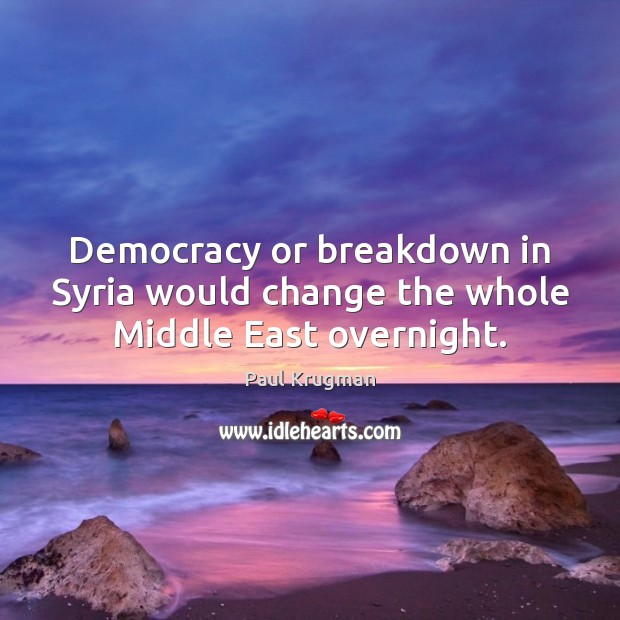 Image, Democracy or breakdown in Syria would change the whole Middle East overnight.