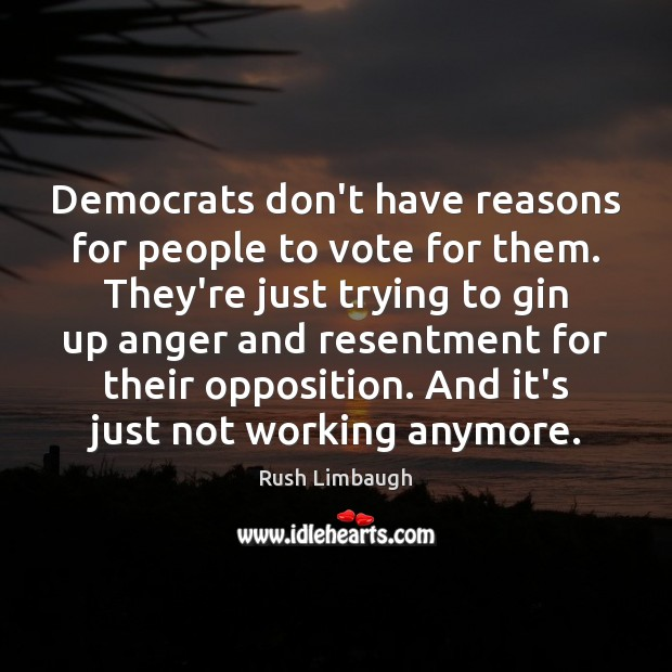 Image, Democrats don't have reasons for people to vote for them. They're just