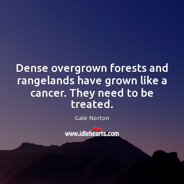 Dense overgrown forests and rangelands have grown like a cancer. They need to be treated. Gale Norton Picture Quote