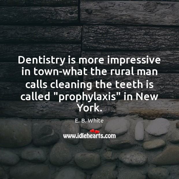 Dentistry is more impressive in town-what the rural man calls cleaning the E. B. White Picture Quote
