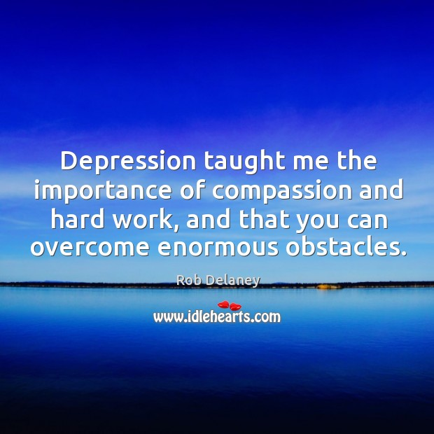 Depression taught me the importance of compassion and hard work, and that Rob Delaney Picture Quote