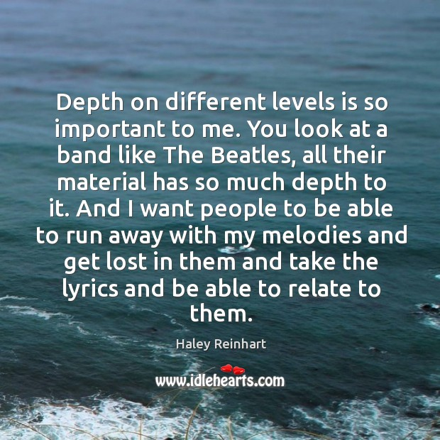 Depth on different levels is so important to me. Haley Reinhart Picture Quote