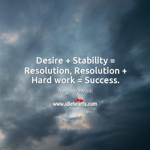 Image, Desire + Stability = Resolution, Resolution + Hard work = Success.