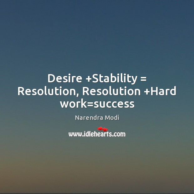 Image, Desire +Stability = Resolution, Resolution +Hard work=success