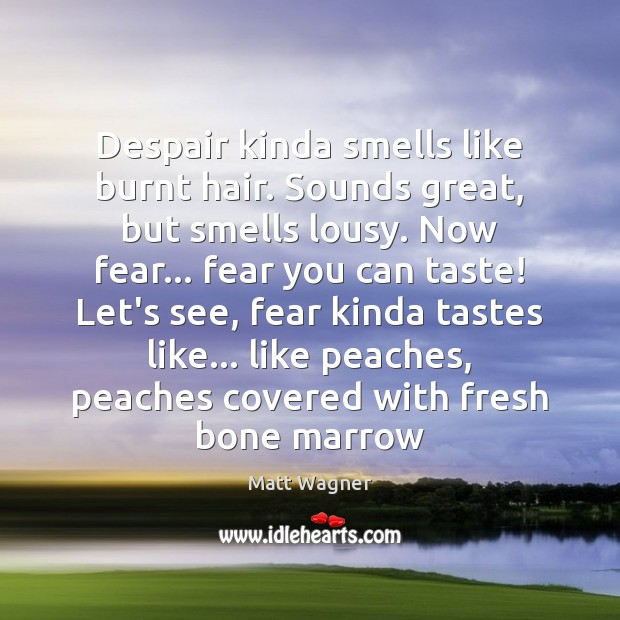 Despair kinda smells like burnt hair. Sounds great, but smells lousy. Now Image