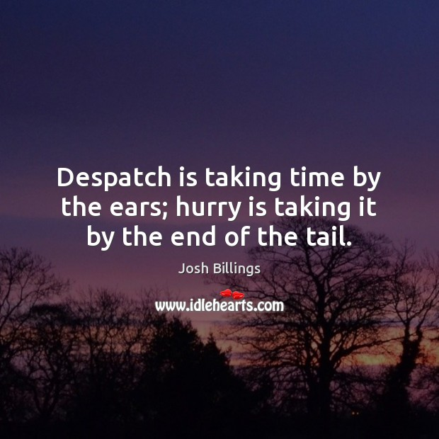Despatch is taking time by the ears; hurry is taking it by the end of the tail. Hurry Quotes Image