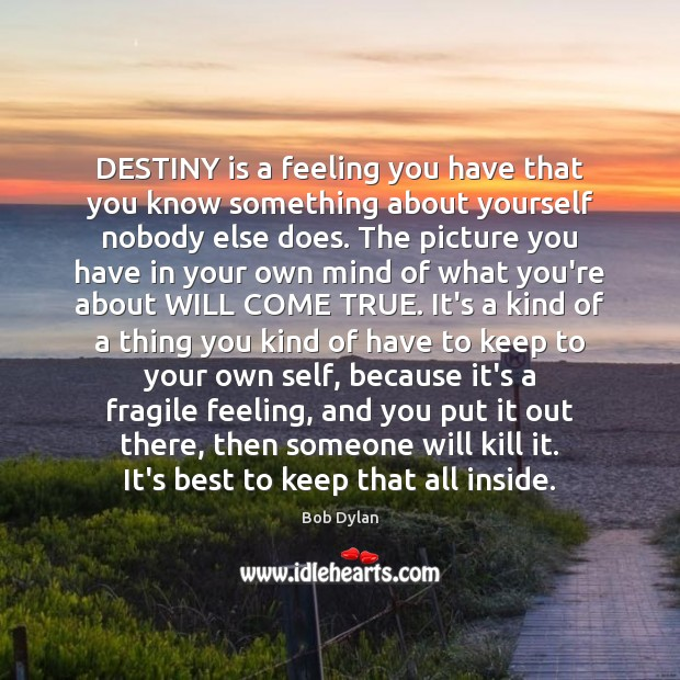 Image, DESTINY is a feeling you have that you know something about yourself