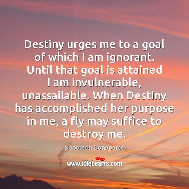 Destiny urges me to a goal of which I am ignorant. Until Image