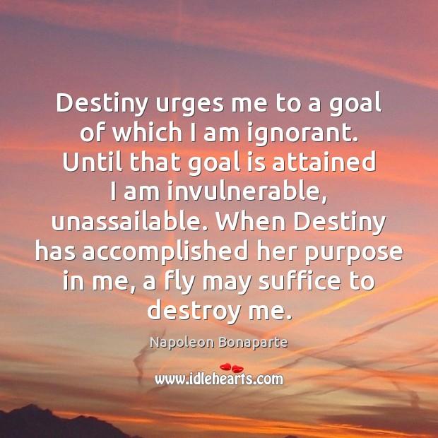Destiny urges me to a goal of which I am ignorant. Until Napoleon Bonaparte Picture Quote