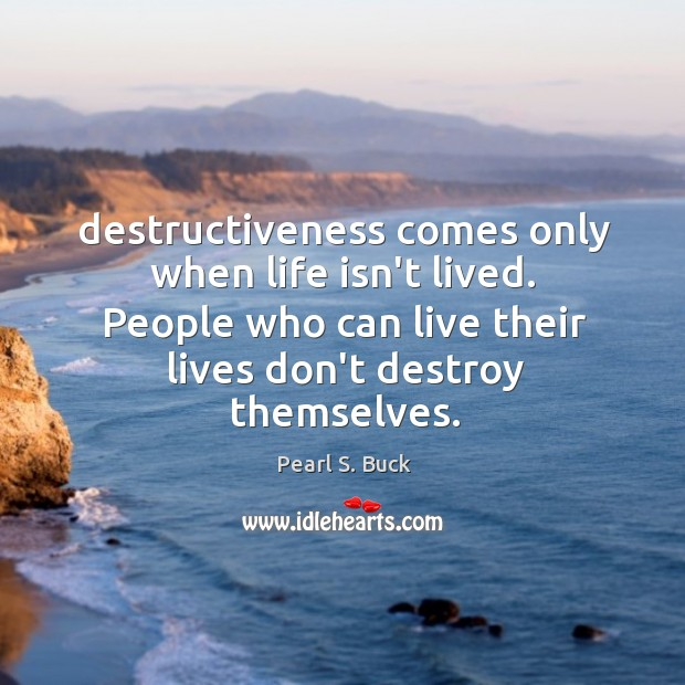 Destructiveness comes only when life isn't lived. People who can live their Image
