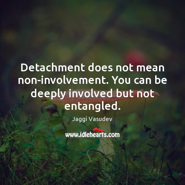 Detachment does not mean non-involvement. You can be deeply involved but not entangled. Image