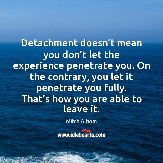 Detachment doesn't mean you don't let the experience penetrate you. Mitch Albom Picture Quote