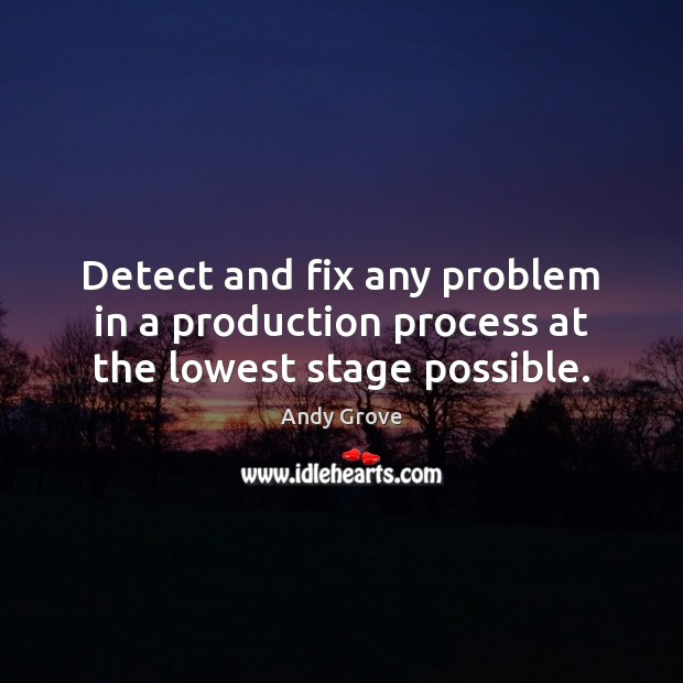 Image, Detect and fix any problem in a production process at the lowest stage possible.