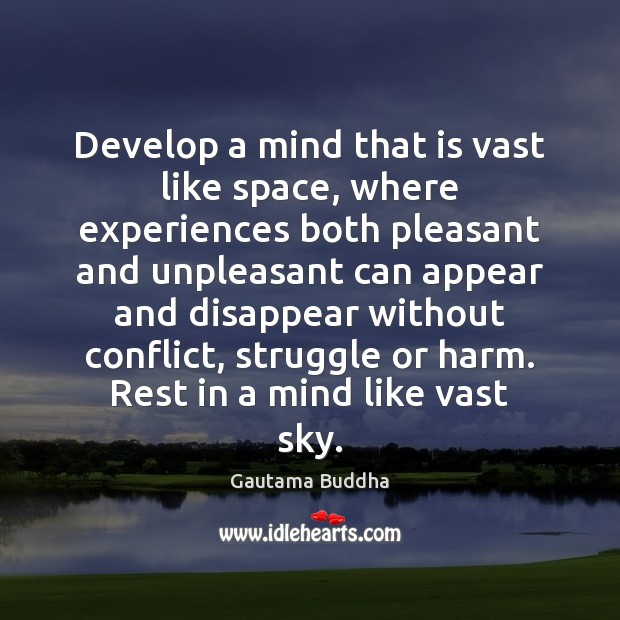 Develop a mind that is vast like space, where experiences both pleasant Image